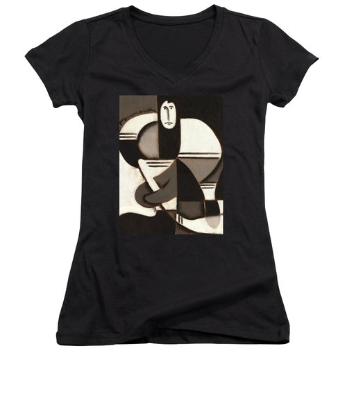 Tommervik Abstract Cubism Hockey Player Art Print Women's V-Neck (Athletic Fit)