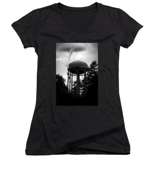 Women's V-Neck T-Shirt (Junior Cut) featuring the photograph Tornado Tower by Aaron Berg
