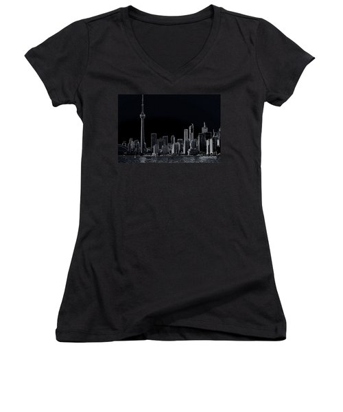 Toronto Skyline Black And White Abstract Women's V-Neck T-Shirt