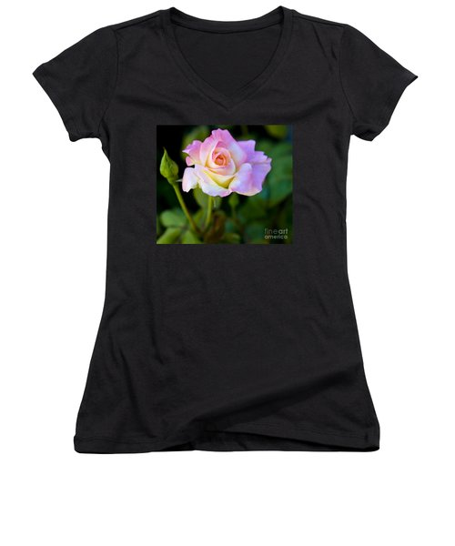 Women's V-Neck T-Shirt (Junior Cut) featuring the photograph Rose-touch Me Softly by David Millenheft
