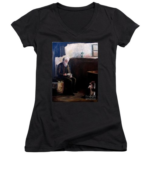 Women's V-Neck T-Shirt (Junior Cut) featuring the painting Tough Times by Hazel Holland