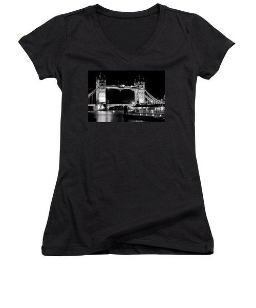 Women's V-Neck T-Shirt (Junior Cut) featuring the photograph Tower Bridge At Night by Maj Seda