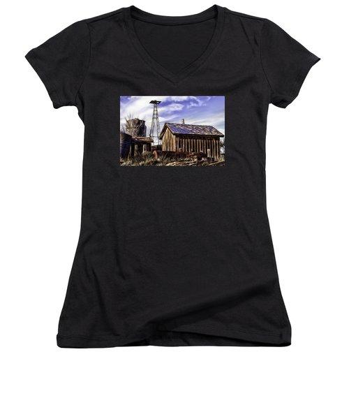Women's V-Neck T-Shirt (Junior Cut) featuring the painting Tower by Muhie Kanawati