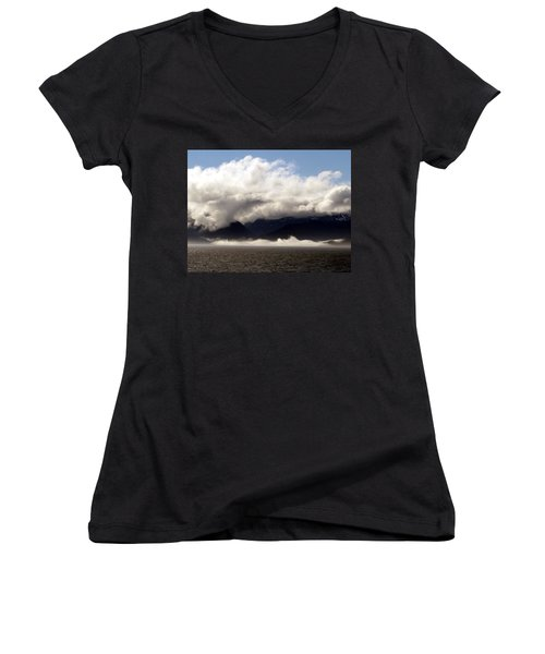 Women's V-Neck T-Shirt (Junior Cut) featuring the photograph Tracy Arm Fjord by Jennifer Wheatley Wolf