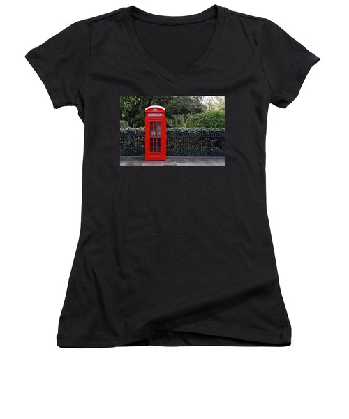 Traditional Red Telephone Box In London Women's V-Neck