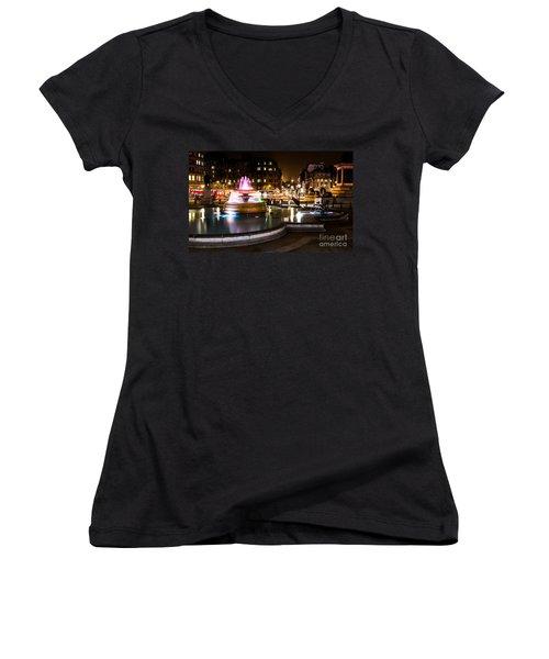 Women's V-Neck T-Shirt (Junior Cut) featuring the photograph Trafalgar Square by Matt Malloy