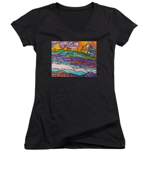 Women's V-Neck T-Shirt (Junior Cut) featuring the painting Tragic by Barbara St Jean