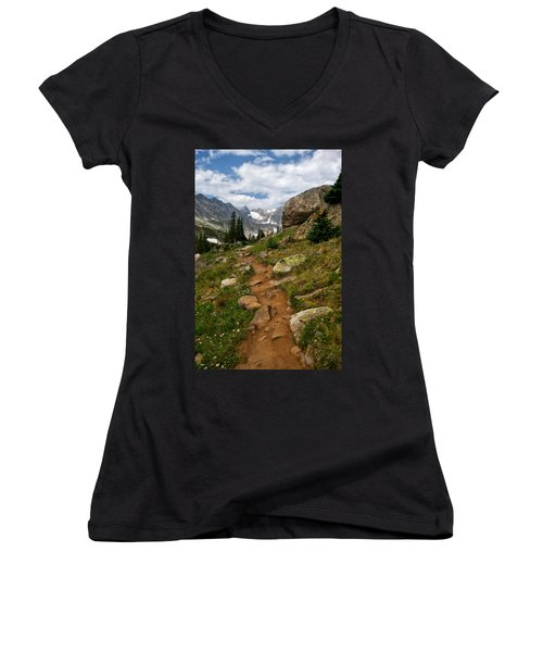 Trail To Lake Isabelle Women's V-Neck T-Shirt (Junior Cut) by Ronda Kimbrow