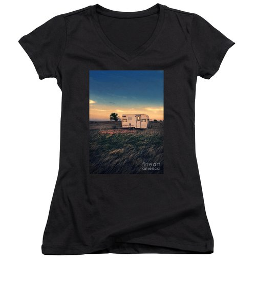 Trailer At Dusk Women's V-Neck T-Shirt