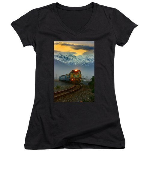 Train In New Zealand Women's V-Neck T-Shirt (Junior Cut) by Amanda Stadther