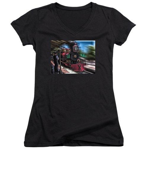 Train Ride Magic Kingdom Women's V-Neck T-Shirt (Junior Cut) by Thomas Woolworth