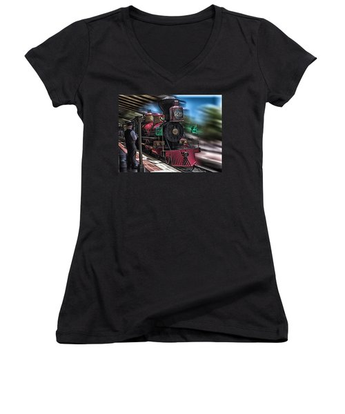 Train Ride Magic Kingdom Women's V-Neck (Athletic Fit)