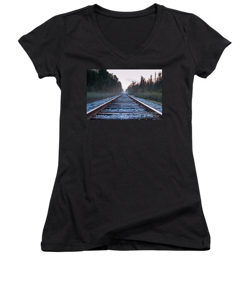 Women's V-Neck T-Shirt (Junior Cut) featuring the photograph Train Tracks To Nowhere by Patrick Shupert