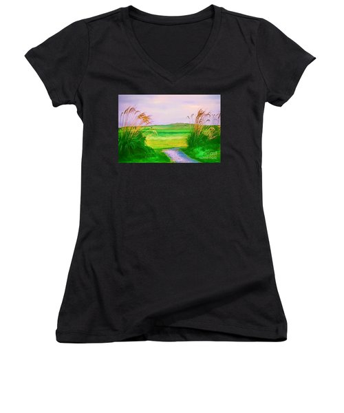Tralee Ireland Water Color Effect Women's V-Neck T-Shirt (Junior Cut) by Tom Prendergast