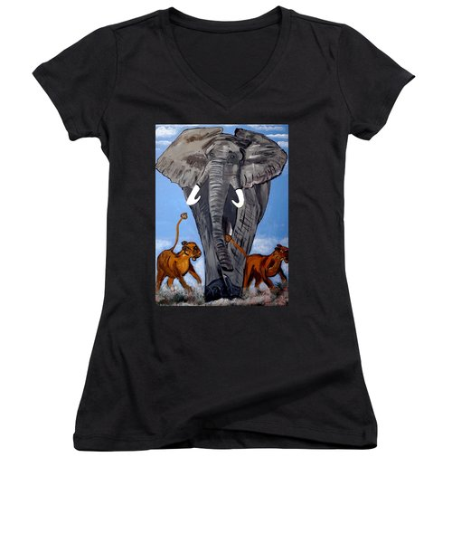 Women's V-Neck T-Shirt (Junior Cut) featuring the painting Trampling Elephant by Nora Shepley