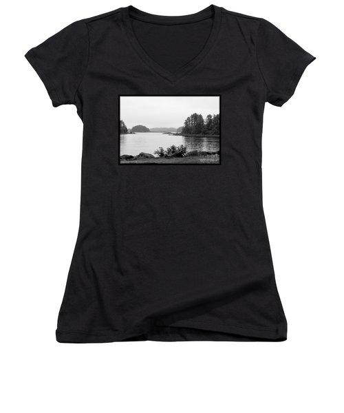 Tranquil Harbor Women's V-Neck T-Shirt (Junior Cut) by Victoria Harrington