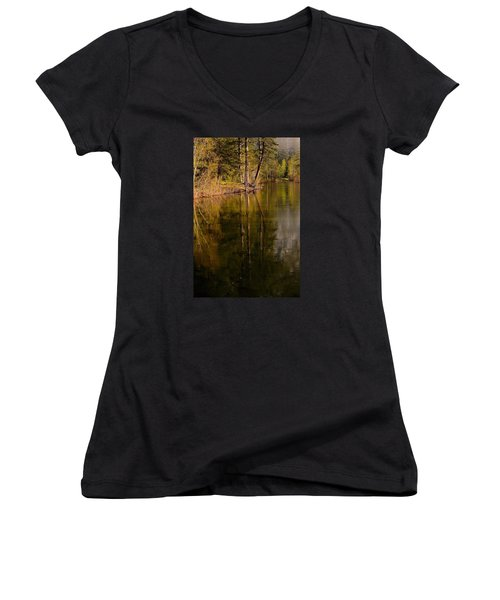 Tranquil Merced River Women's V-Neck T-Shirt (Junior Cut) by Duncan Selby