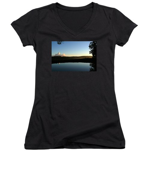Women's V-Neck T-Shirt (Junior Cut) featuring the photograph Tranquility by Evelyn Tambour