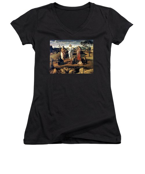 Transfiguration Of Christ 1487 Giovanni Bellini Women's V-Neck T-Shirt (Junior Cut) by Karon Melillo DeVega
