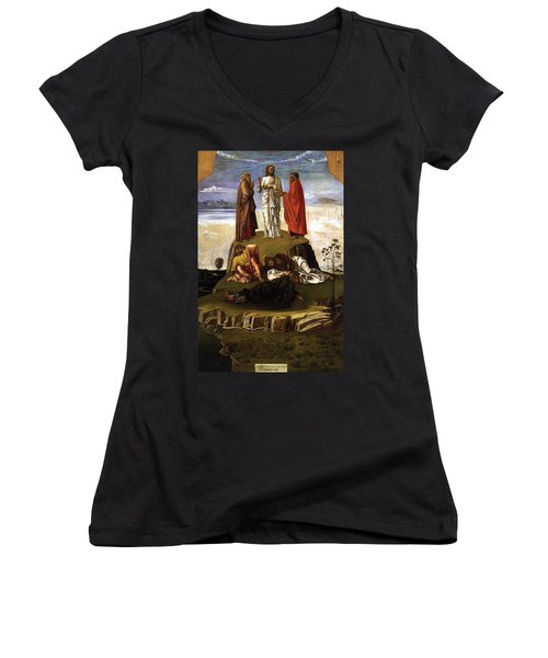 Transfiguration Of Christ On Mount Tabor 1455 Giovanni Bellini Women's V-Neck T-Shirt (Junior Cut) by Karon Melillo DeVega