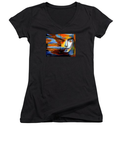 Women's V-Neck T-Shirt (Junior Cut) featuring the painting Transition - Diptic by Helena Wierzbicki