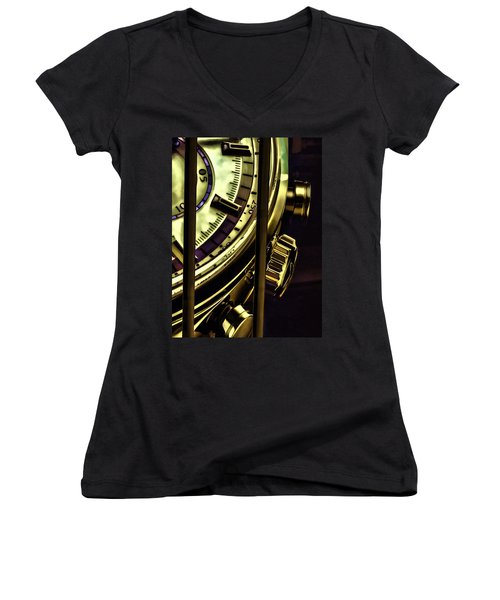 Women's V-Neck T-Shirt (Junior Cut) featuring the painting Trapped In Time by Muhie Kanawati
