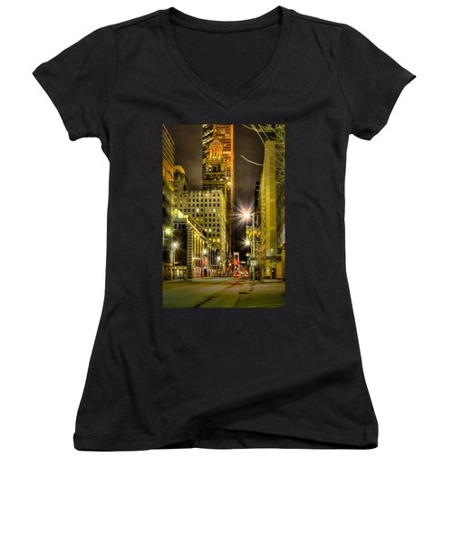 Travis And Lamar Street At Night Women's V-Neck T-Shirt