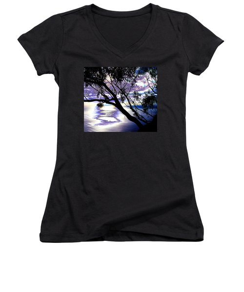 Tree In Silhouette Women's V-Neck (Athletic Fit)
