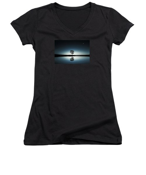 Tree Near Lake At Night Women's V-Neck T-Shirt (Junior Cut) by Bess Hamiti