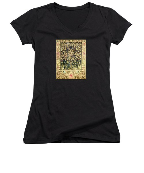 Tree Of Life Women's V-Neck T-Shirt (Junior Cut) by William Morris