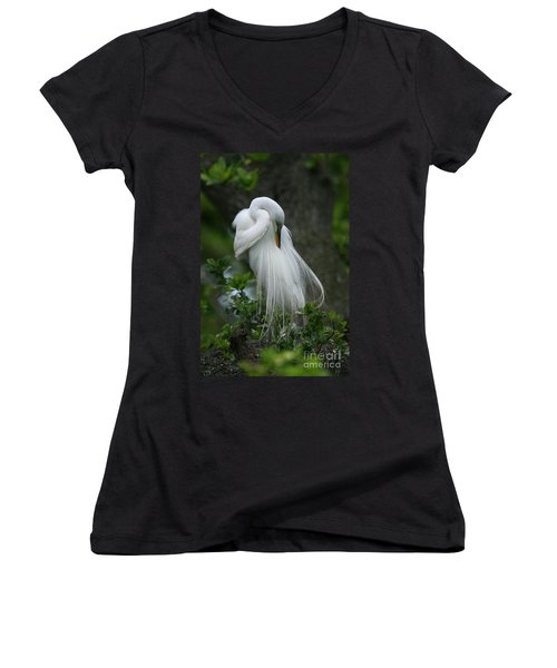 Women's V-Neck T-Shirt (Junior Cut) featuring the photograph Tree Of Plumes by John F Tsumas