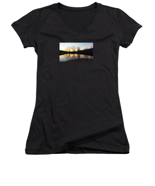 Tree Reflections Landscape Women's V-Neck (Athletic Fit)