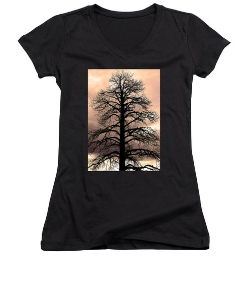 Tree Silhouette Women's V-Neck (Athletic Fit)