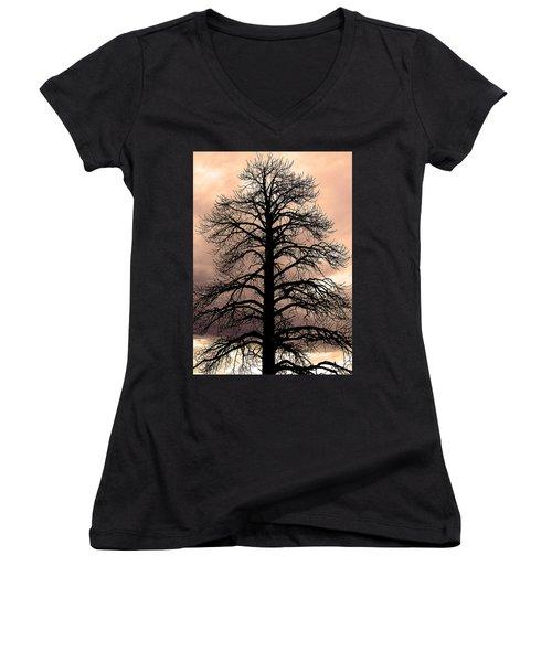 Tree Silhouette Women's V-Neck T-Shirt