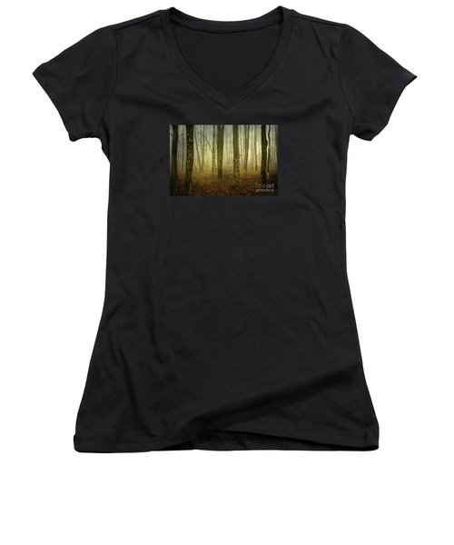 Trees II Women's V-Neck T-Shirt (Junior Cut) by Debra Fedchin
