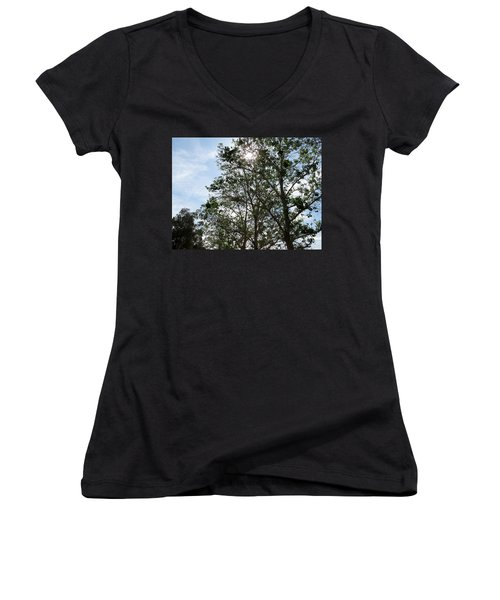 Trees At The Park Women's V-Neck T-Shirt (Junior Cut) by Laurel Powell