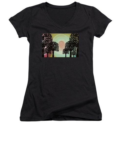 Trees Of Light Women's V-Neck T-Shirt (Junior Cut) by Christine Fournier