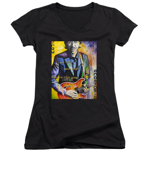 Trey Anastasio And Antelope Lryics Women's V-Neck T-Shirt (Junior Cut) by Joshua Morton