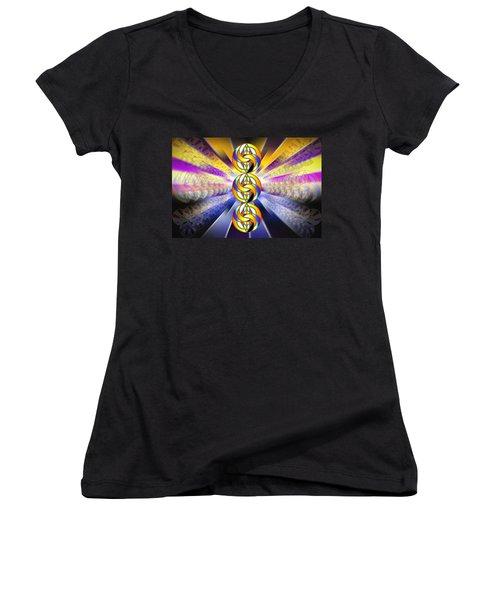 Women's V-Neck T-Shirt (Junior Cut) featuring the drawing Tri-crescent Yin Yang by Derek Gedney