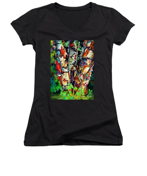 Women's V-Neck T-Shirt (Junior Cut) featuring the painting Trio Birch 2014 by Kathy Braud