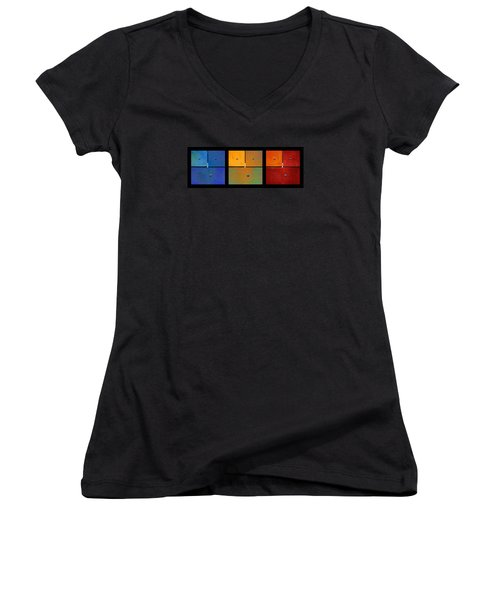 Triptych Blue Green Red - Colorful Rust Women's V-Neck T-Shirt