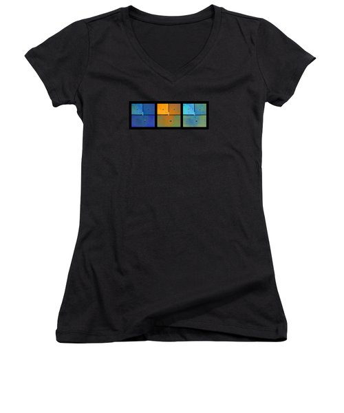 Triptych Blue Orange Cyan - Colorful Rust Women's V-Neck (Athletic Fit)