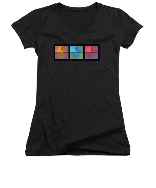 Triptych Gold Cyan Magenta - Colorful Rust Women's V-Neck T-Shirt