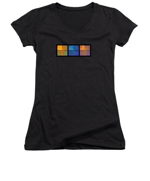 Triptych Orange Blue Gold - Colorful Rust Women's V-Neck T-Shirt (Junior Cut) by Menega Sabidussi