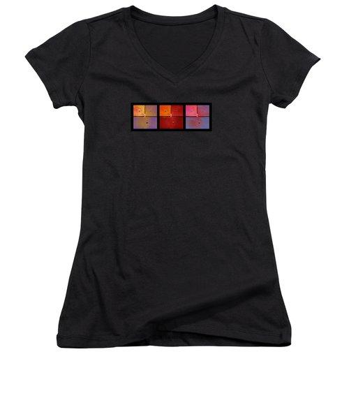Triptych Purple Red Magenta - Colorful Rust Women's V-Neck T-Shirt (Junior Cut) by Menega Sabidussi