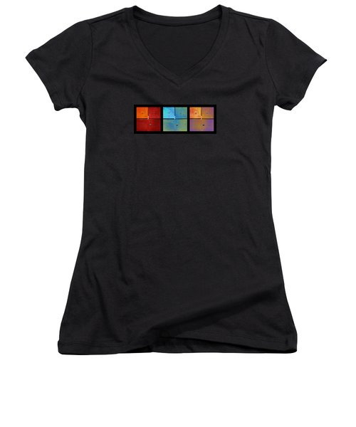 Triptych Red Cyan Purple - Colorful Rust Women's V-Neck T-Shirt