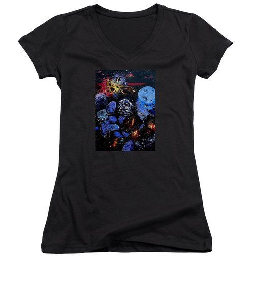 Trojans And Meteoroids Women's V-Neck T-Shirt (Junior Cut) by Raymond Perez