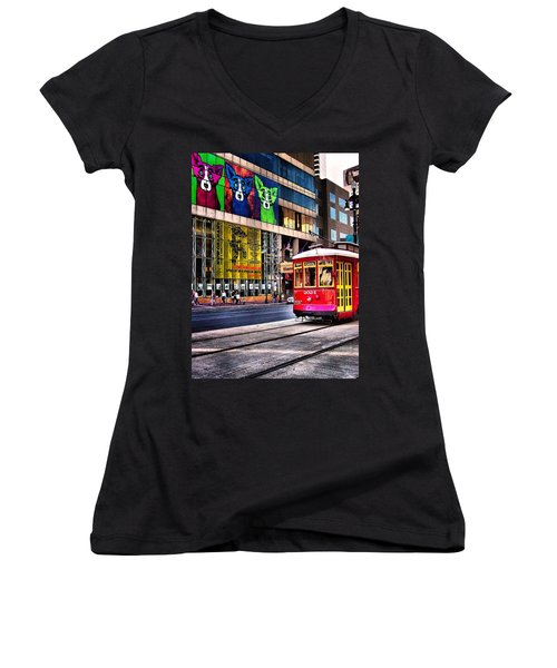 Women's V-Neck T-Shirt (Junior Cut) featuring the photograph Trolley Time by Robert McCubbin
