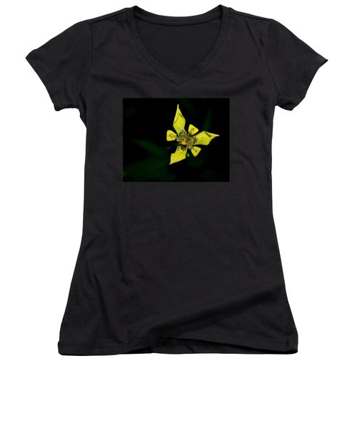 Women's V-Neck T-Shirt (Junior Cut) featuring the photograph Tropic Yellow by Miguel Winterpacht