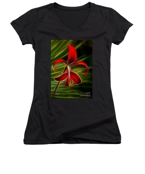 Tropical Abstract Women's V-Neck T-Shirt (Junior Cut) by Vivian Christopher